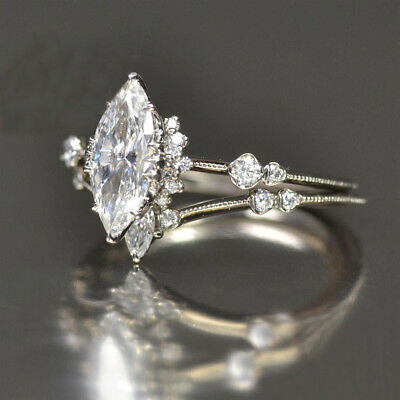 925 Sterling Silver 2.00 Ct Marquise Cut Moissanite Solitaire Engagement Ring