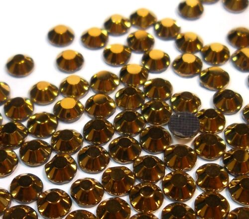 350 Hotfix Strasssteine 4mm SS16 GOLD GLAS Bügelsteine Glitzersteine BEST 21