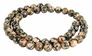 Rhodonit-Perlen-schwarz-geaedert-8-mm-Kugeln-Edelsteinperlen-fuer-Kette