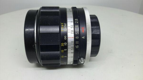 Hanimex Large Auto Lens 1:2 .8 35 Mm No.h657722 + Lens Caps Vintage Photography