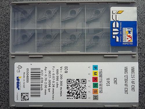 WENDEPLATTEN 10 x ISCAR VNMG12T304-NF IC907 WENDESCHNEIDPLATTEN CARBIDE INSERTS