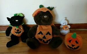 Lot-of-4-Halloween-Plush-Dolls-Teddy-Bear-Pumpkin-Ghost-Black-Cat-Kelly-Toys