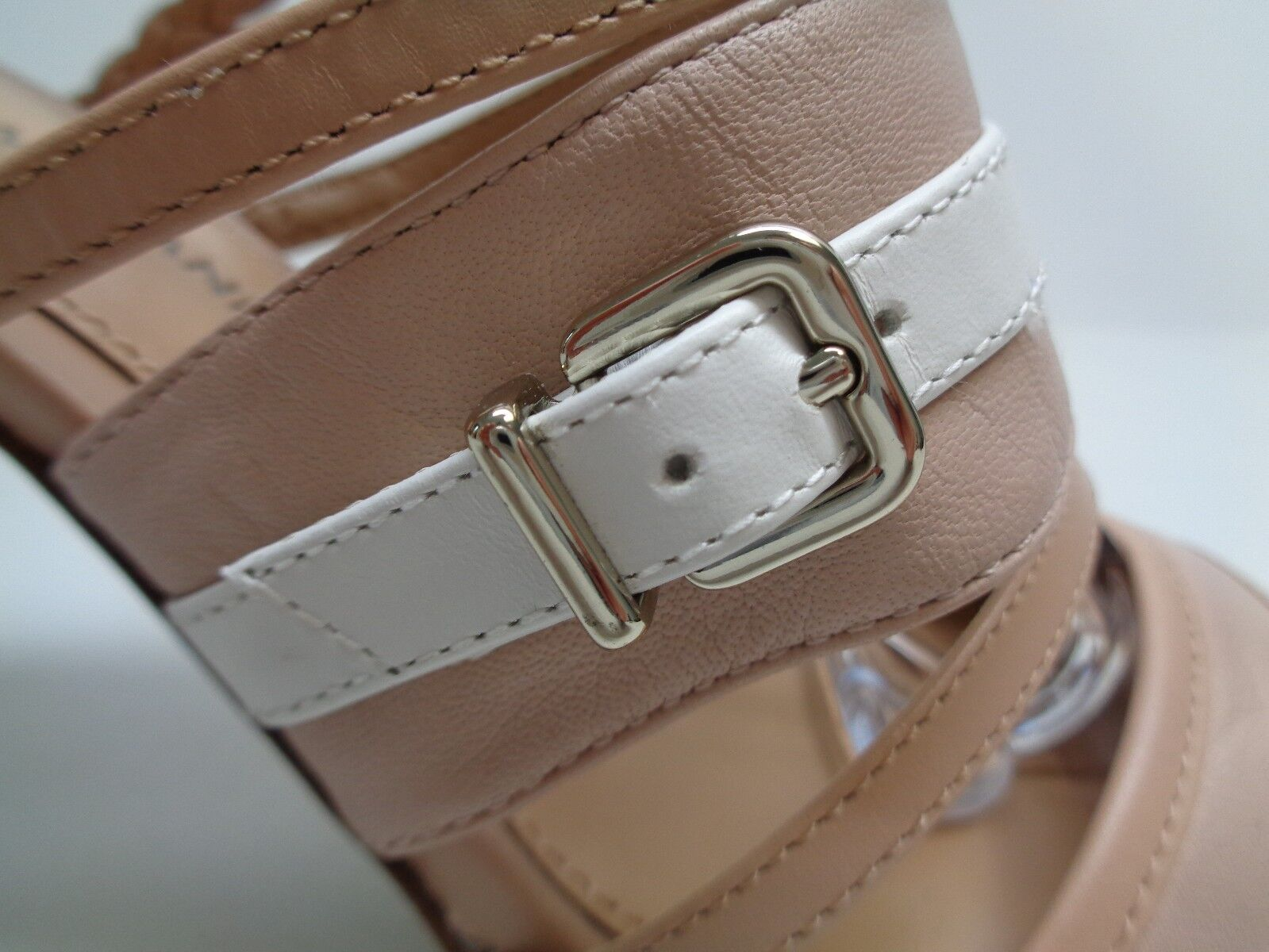 Antonio Melani Größe 8.5 M Beige Tan WEISS Leder Heels Sandales NEU Damenschuhe Schuhes
