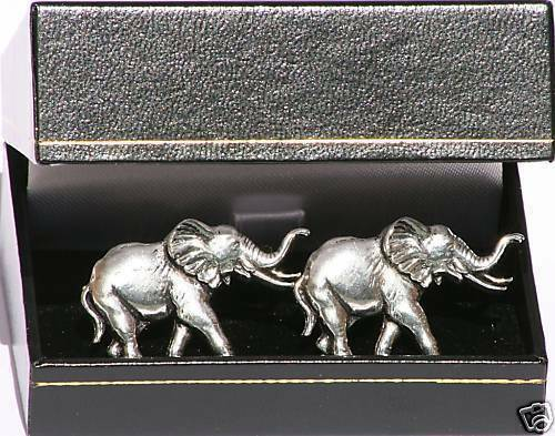 Elephant  Cufflinks Pewter African Safari Gift Boxed NEW