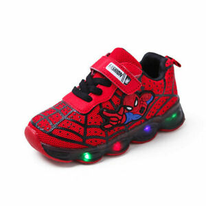 ce7205ea76e Details about Spiderman Kids Light LED Shoes Luminous Sneakers Trainers  Boys Girls Babys NEW