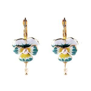 Boucles d/'Oreilles CLIP ON Doré Chandelier Poisson Email Jaune Bleu Perle X21