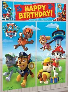 Image Is Loading Paw Patrol Giant 6ft Happy Birthday Scene Setter