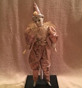 """18.5"""" Porcelain Harlequin Jester Clown Doll Golden Blush Outfit With Stand"""