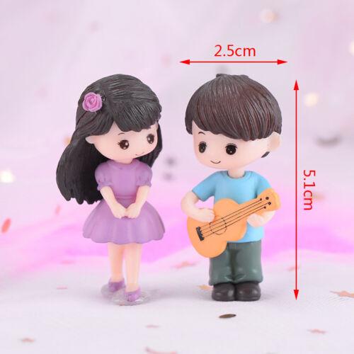 Guitar Couple Mini Miniature Figurine Garden Dollhouse Decor Micro Landscape~JT
