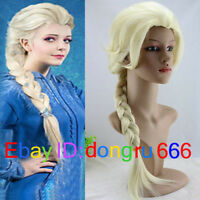 New Disney Movies Frozen Snow Queen Elsa Blonde Braid Cosplay Wig