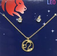 Leo Zodiac Sign Astrology Necklace Earrings Gold Toned Costume Jewelry