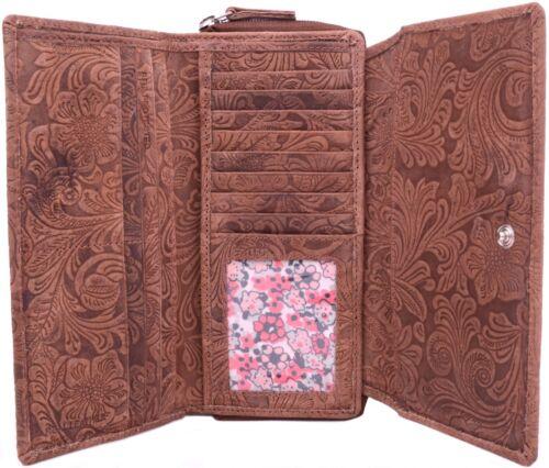 Womens Large Genuine Leather Vintage Floral Purse Clutch Ladies