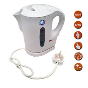 1-LITRE-WHITE-900W-ELECTRIC-CORDLESS-KITCHEN-KETTLE-CARAVAN-TRAVEL-HOT-WATER-JUG