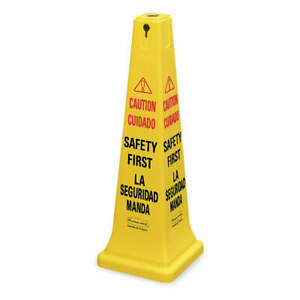 RUBBERMAID-COMMERCIAL-PRODUCTS-FG627687YEL-Safety-Cone-Yellow-HDPE-36-in-H