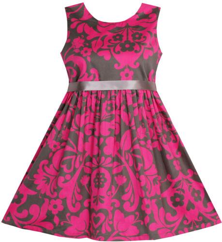Girls Dress Sleeveless Elegant Pink Coffee Color Age 3-10 Years UK STOCK !