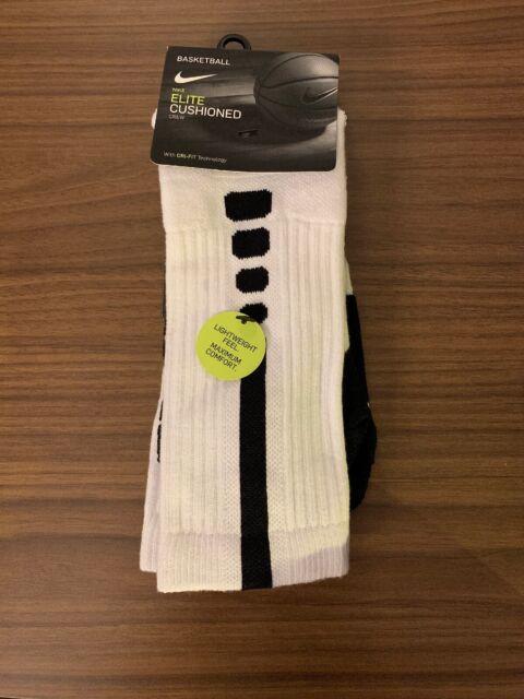 size 40 6748b 28cad Nike Elite Cushioned Crew Basketball Socks Men 6-8 White Black Sx5593 100