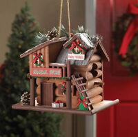 Christmas Holiday Log Cabin Wood Fairy Gingerbread Bird House Garden Birdhouse