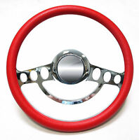 Chrome & Red Steering Wheel For Flaming River, Ididit Steering Column 14