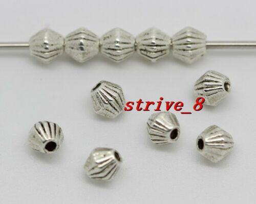 50//200//1000pcs Antique Silver prismatic Fit Jewelry Charm Spacer Beads  4x4mm