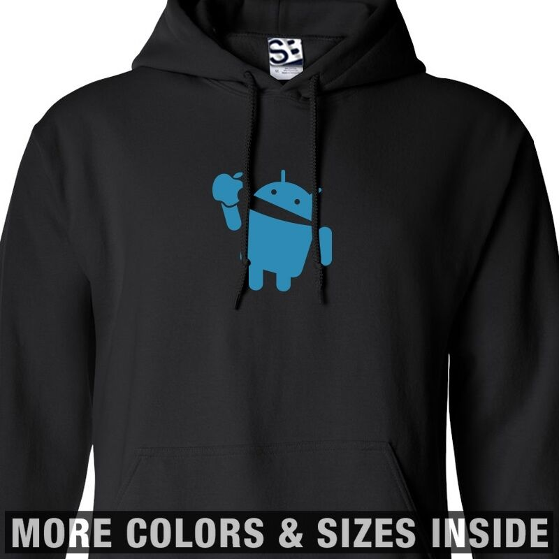 Android Eats Apple HOODIE Hooded Takes A Bite Sweatshirt - All Größes & Farbes