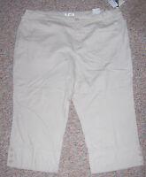 C.j. Banks Tan Or Beige Khaki Straight Fit Cropped Capris Pants Size 24w