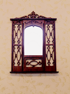 Dollhouse Miniature 1:12 single window Mahogany cornice Artist Made Furniture