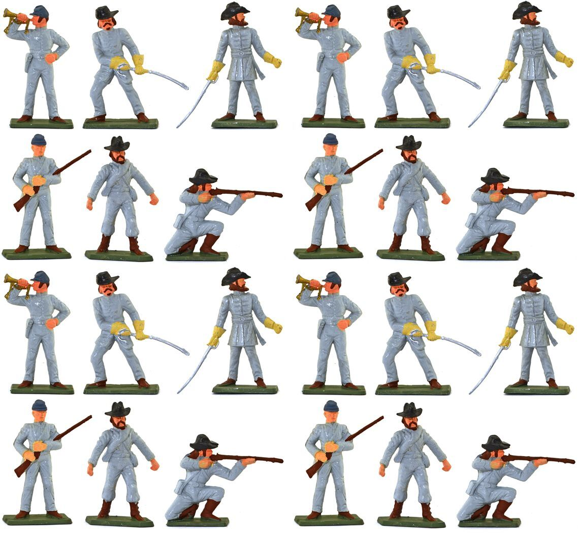 Starlux American Civil War CSA Infantry - 24 Painted Painted Painted 60mm Plastic Toy Soldiers e949ae