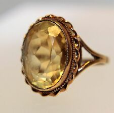 Vintage Large Citrine 9ct Yellow Rose Gold ring size N ~ US 6 3/4