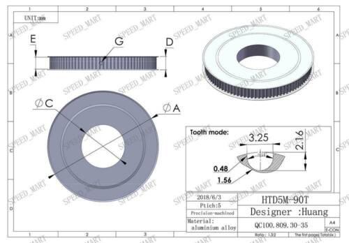 HTD5M90T Aluminum Timing Belt Pulley 90 Teeth 12mm Bore 21mm width Stepper Motor