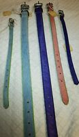 Dog Collars In Leather & Dyed Hair, Purple, Blue, Pink, Made In Usa Fox & Hounds