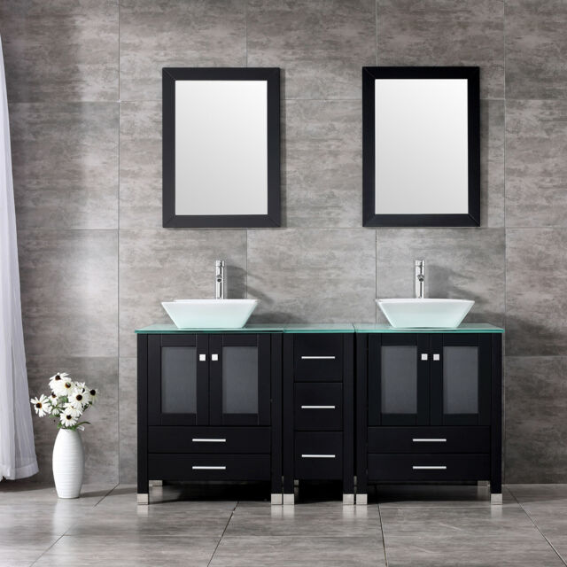 60 Black Bathroom Vanity Cabinet Solid Wood Ceramic Sink Modern Design W Mirror