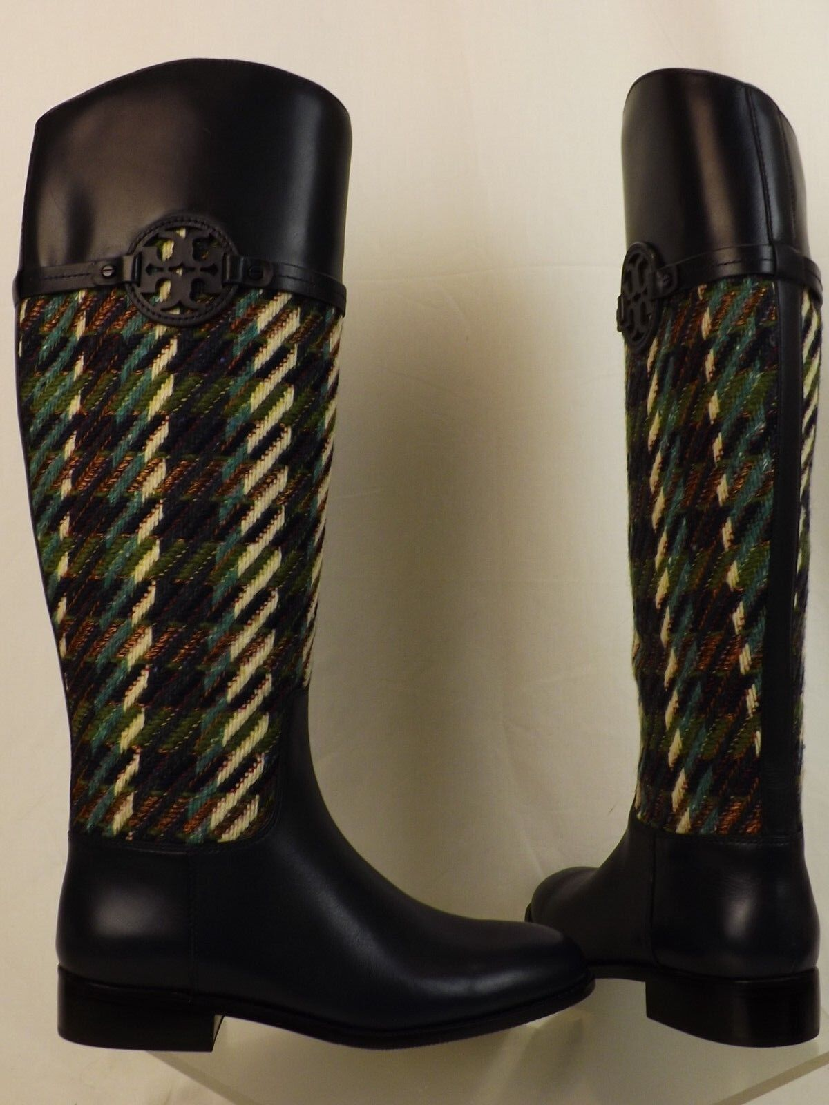 a4a3691f4d6 Tory Burch Miller Bright Navy Green Dogtooth Tweed Leather Reva Riding BOOTS  8 for sale online