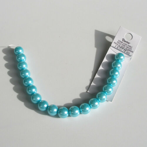 "~20 pieces *** CLEARANCE *** Turquoise Pearl Glass Beads 10mm 7/"" Strand"