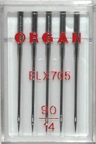 ORGAN ELx705 OVERLOCKER COVERSTITCH NEEDLES SIZE 90//14 x PKT  5