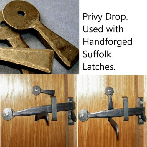 Latch Lock or Privy Drop Lock used with Suffolk latch Forged Iron blacksmith