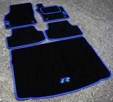 Nero/Blu Tappetini Auto VW Golf Mk7 RHD 13 su + blu R-Line Logo+