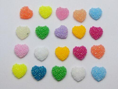 200 Mixed Color Flatback Resin Floral Heart Cabochons 8X8mm DIY Craft