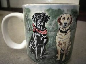 Tuck-1996-Labrador-Retriever-Cup-Mug-Yellow-amp-Chocolate-Lab-Flowers-Collectible