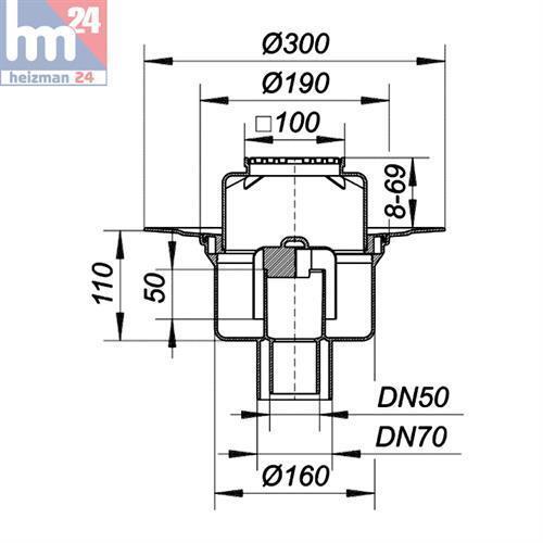 Dallmer Pavimento Scarico 61 HT//e 100 x 100 mm DN 50//DN 70 con scadenza ugello 611154