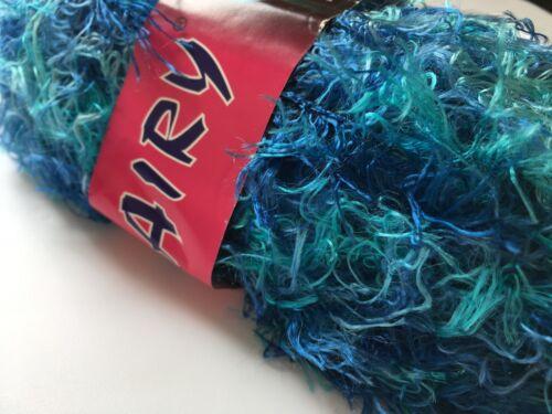 Turquoise /& Blues Wavy Eyelash Yarn Dark Horse Hairy #24 Wave 100 Gram 82 yds