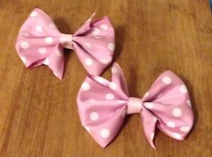 One-Pair-Of-Pink-Polka-Dot-Bows-On-Clips