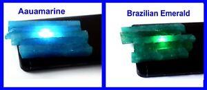 Natural 600 Ct 10 Pcs Brazilian Emerald & Aquamarine Gemstone Slice Rough Lot
