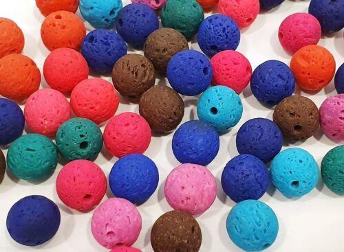 30 Lava Perlen Natürliche Edelstein Lavastein 10mm Bunt Schmucksteine L16