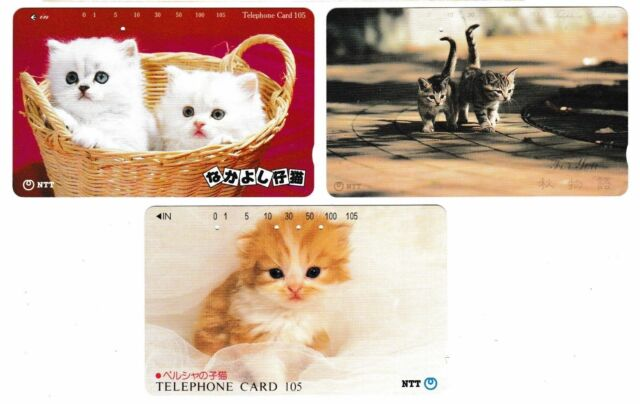 3 Collectible PHONE cards JAPAN NTT #02 Cat Cats Kitten kittens