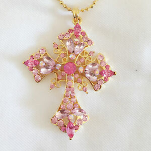 New-Rose-Pink-Crystal-Holly-Cross-Charm-Chain-Pendant-Necklace-Gift-NE1064A
