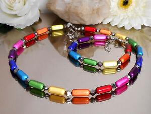 2er-Set-Collier-u-Armband-Miracle-Walzen-Glas-Rhomben-Regenbogen-bunt