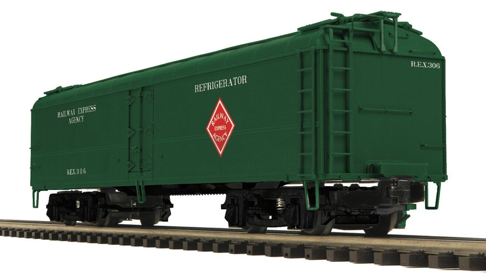 MTH 20-94279 RAILWAY EXPRESS AGENCY R50B REEFER BOTH  S 306,318  O GAUGE 3 RAIL