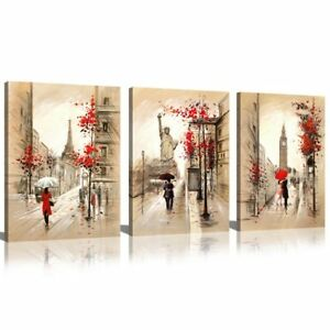 Image is loading Modern-Canvas-Wall-Art-With-Frame-Paris-New-  sc 1 st  eBay & Modern Canvas Wall Art With Frame Paris New York London 3 Piece ...