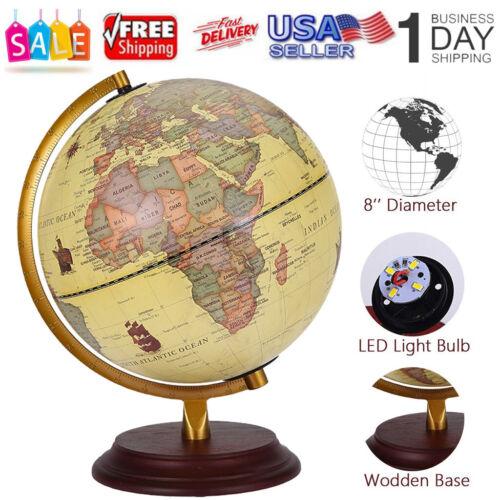 "11"" Illuminated World Globe 360° Rotating Education Cartogr"