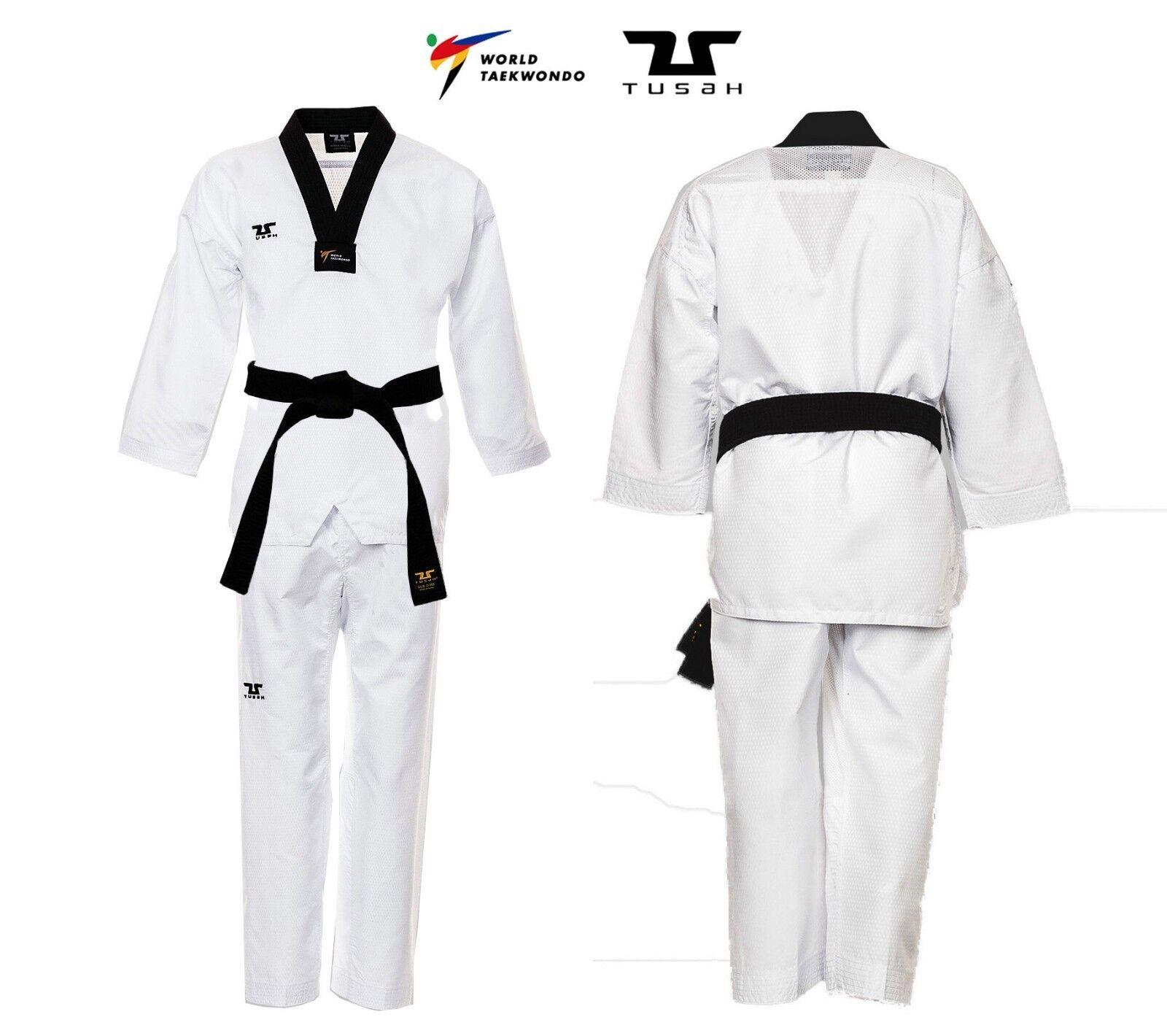 Dobok EasyFit combatiente Ultraleggero TUSAH per Taekwondo OMOLOGATO WT collo Nero